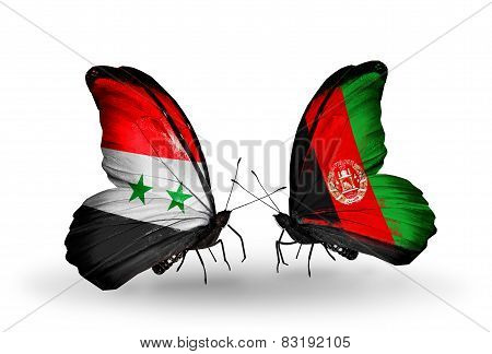 Two Butterflies With Flags On Wings As Symbol Of Relations Syria And Afghanistan