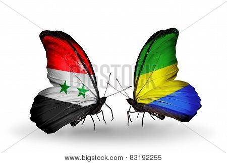Two Butterflies With Flags On Wings As Symbol Of Relations Syria And Gabon