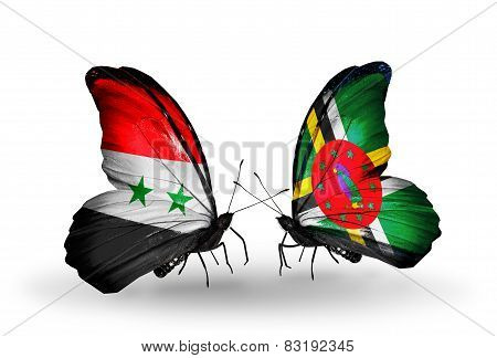 Two Butterflies With Flags On Wings As Symbol Of Relations Syria And Dominica