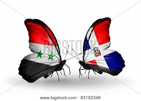 Two Butterflies With Flags On Wings As Symbol Of Relations Syria And Dominicana