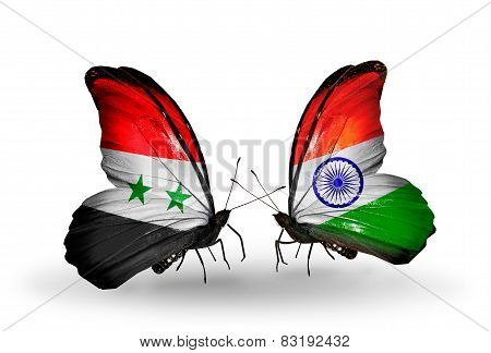 Two Butterflies With Flags On Wings As Symbol Of Relations Syria And India