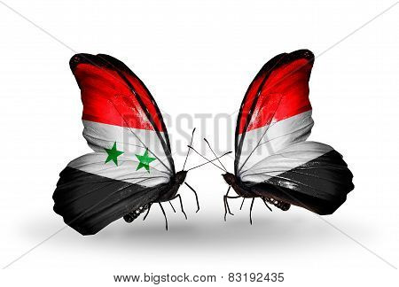 Two Butterflies With Flags On Wings As Symbol Of Relations Syria And Yemen