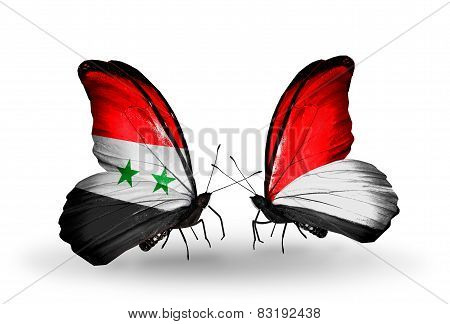 Two Butterflies With Flags On Wings As Symbol Of Relations Syria And Monaco, Indonesia