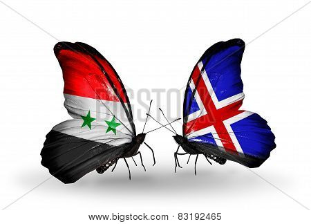 Two Butterflies With Flags On Wings As Symbol Of Relations Syria And Iceland