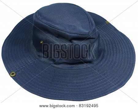 An isolated blue sun hat