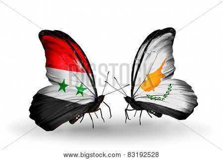Two Butterflies With Flags On Wings As Symbol Of Relations Syria And Cyprus
