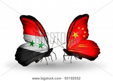 Two Butterflies With Flags On Wings As Symbol Of Relations Syria And China