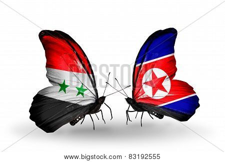 Two Butterflies With Flags On Wings As Symbol Of Relations Syria And North Korea