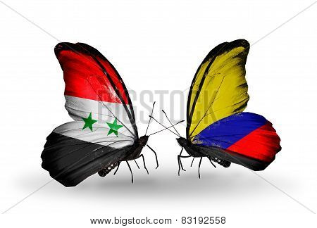 Two Butterflies With Flags On Wings As Symbol Of Relations Syria And Columbia