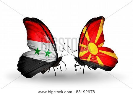 Two Butterflies With Flags On Wings As Symbol Of Relations Syria And Macedonia