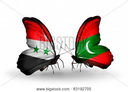 Two Butterflies With Flags On Wings As Symbol Of Relations Syria And Maldives