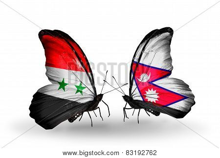 Two Butterflies With Flags On Wings As Symbol Of Relations Syria And Nepal