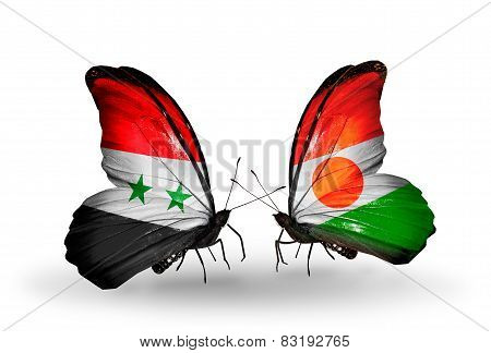 Two Butterflies With Flags On Wings As Symbol Of Relations Syria And Niger