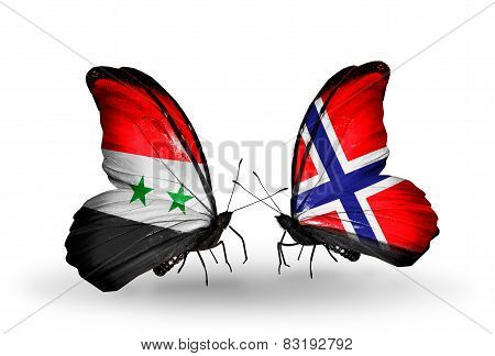 Two Butterflies With Flags On Wings As Symbol Of Relations Syria And  Norway
