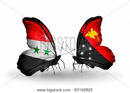Two Butterflies With Flags On Wings As Symbol Of Relations Syria And Papua New Guinea