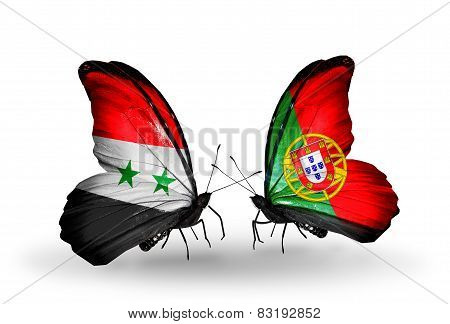 Two Butterflies With Flags On Wings As Symbol Of Relations Syria And Portugal