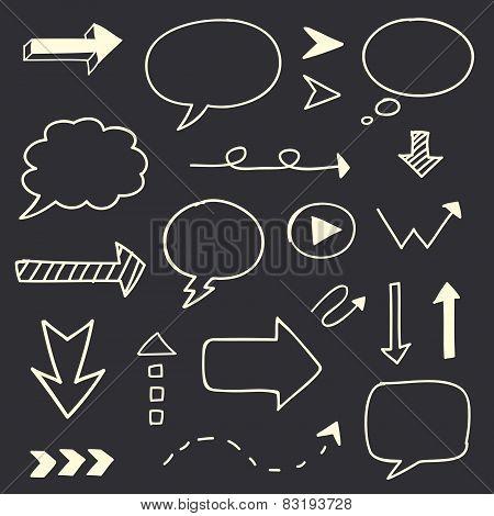 Hand drawn arrows speech bubble sketch set