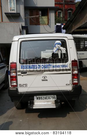 KOLKATA, INDIA - FEBRUARY 11: Missionaries of Charity (Mother Teresa) Ambulance, Kolkata, India on February 11, 2014.