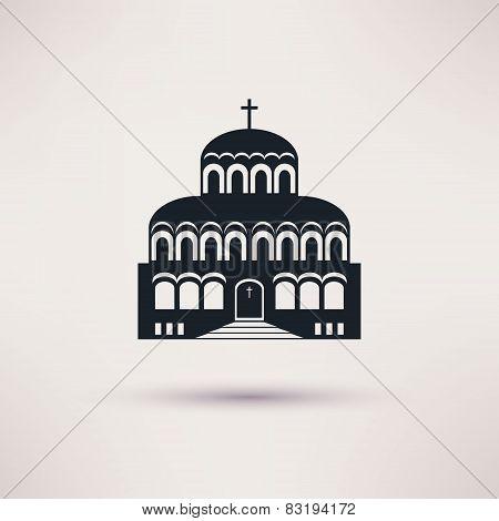 Church building a religious symbol vector icon.