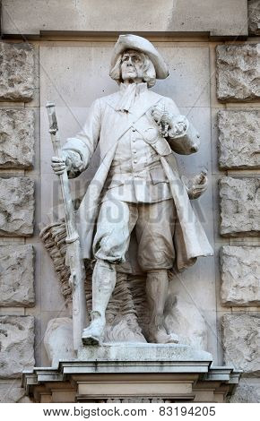 VIENNA, AUSTRIA - OCTOBER 10: Richard Kauffungen: Viennese Citizen, on the facade of the Neuen Burg on Heldenplatz in Vienna, Austria on October 10, 2014.