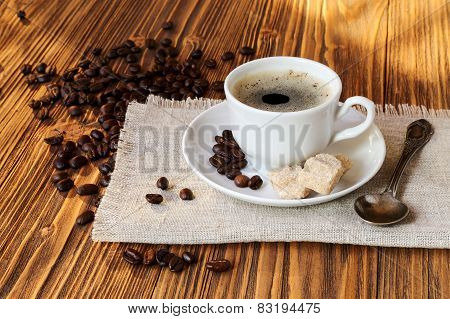 Cup Of Coffee With Cane Sugar