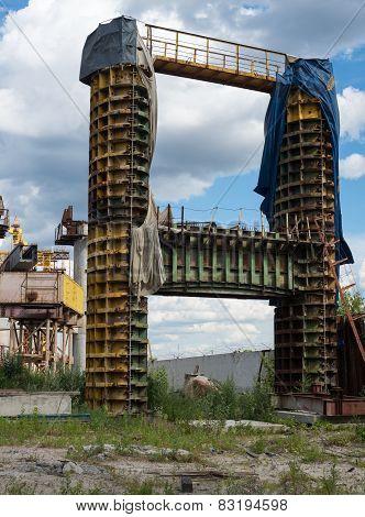 Concrete Bridge Pier In The Metal Formwork