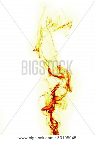 Abstract Fire Flame On White Background