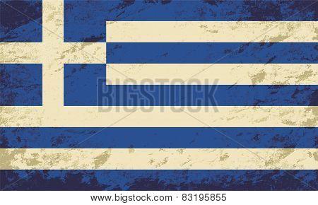 Greek flag. Grunge background. Vector illustration