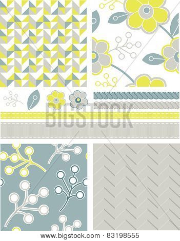 Modern Geometric Seamless Floral Vector Patterns and Icons. Use as fills, digital paper, or print off onto fabric to create unique items.
