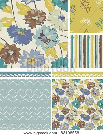 Seamless Floral Patterns. Use as fills, digital paper, or print off onto fabric to create unique items.