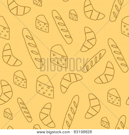 Seamless background with bread and cheese