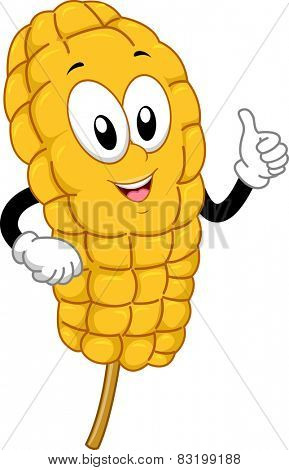 Mascot Illustration of a Corn on the Cob Giving a Thumbs Up