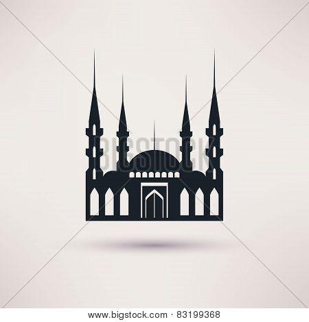 Mosque building a religious symbol vector icon.