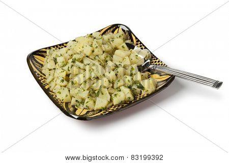 Traditional moroccan potato salad on white background