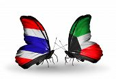 picture of kuwait  - Two butterflies with flags on wings as symbol of relations Thailand and Kuwait - JPG