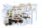 picture of combinations  - Beautiful Custom Kitchen Blue Design Drawing and Photo Combination - JPG