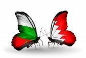 pic of bahrain  - Two butterflies with flags on wings as symbol of relations Bulgaria and Bahrain - JPG