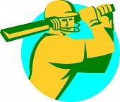 image of bat  - Illustration of a cricket player batsman with bat batting set inside circle done in retro style on isolated background - JPG