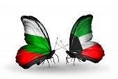 stock photo of kuwait  - Two butterflies with flags on wings as symbol of relations Bulgaria and Kuwait - JPG