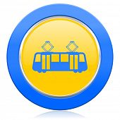 picture of tram  - tram blue yellow icon public transport sign  - JPG