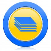 stock photo of gage  - layers blue yellow icon gages sign  - JPG
