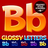 image of letter b  - Vector set of glossy modern alphabet in different colors - JPG