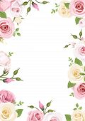 image of rose flower  - Vector background with pink and white roses - JPG