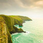 stock photo of irish  - Irish landscape. Coastline atlantic ocean rocky coast scenery. County Cork Ireland Europe. Beauty in nature. ** Note: Soft Focus at 100%, best at smaller sizes - JPG