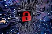 stock photo of cybercrime  - graphic symbol of a red open lock on blue computer circuit board background - JPG