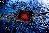 foto of sign board  - a computer virus sign on circuit board - JPG