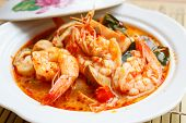 stock photo of thai cuisine  - Tom Yum Goong spicy soup with shrimp  - JPG