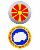 picture of macedonia  - button as a symbol MACEDONIA flag and map on a white background - JPG