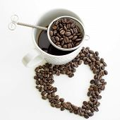 pic of soulmate  - Coffee cup and coffee bean line heart shape on white background - JPG