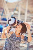 stock photo of dock  - Happy family - JPG